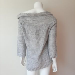 Love @ First Sight Sweaters - Love @ First Sight Gray Cowl Off Shoulder Sweater